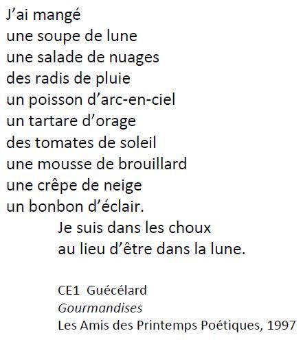 Poème Gourmandise Ce1 Guécélard